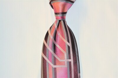 Necktie Set - Burgundy Fuchsia Grey Matrix