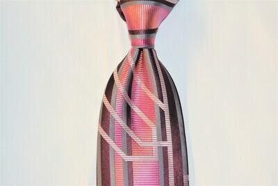 Necktie Set - Burgundy Fuchsia Grey Matrix