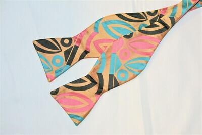 Bow Tie Set - Pink Gold Teal Aztec