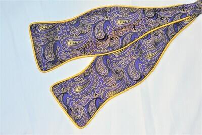Bow Tie Set - Purple Yellow Paisley