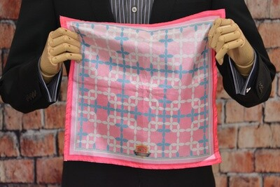 Premium Pocket Square - Ceramic Pink Grey