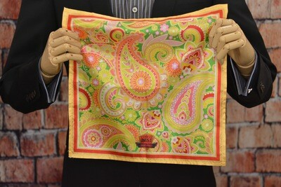 Premium Pocket Square - Jumbo Paisley Yellow