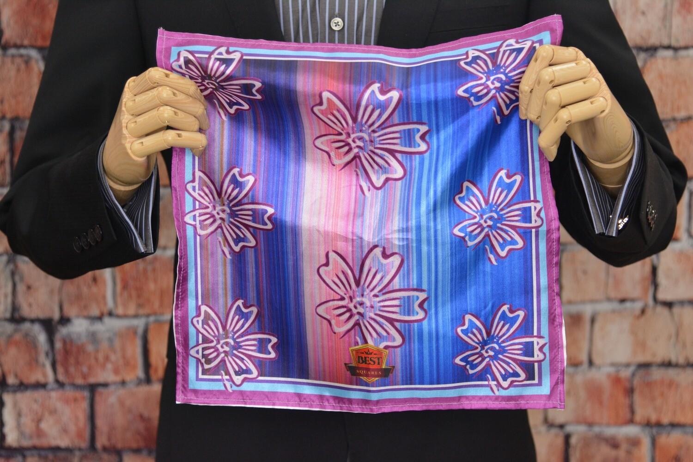 Premium Pocket Square - Purple Flower Streak
