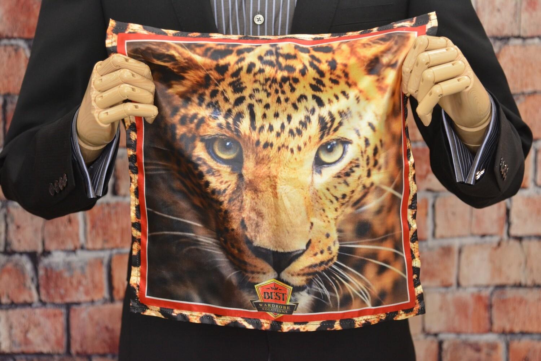 Premium Pocket Square - Leopard Head