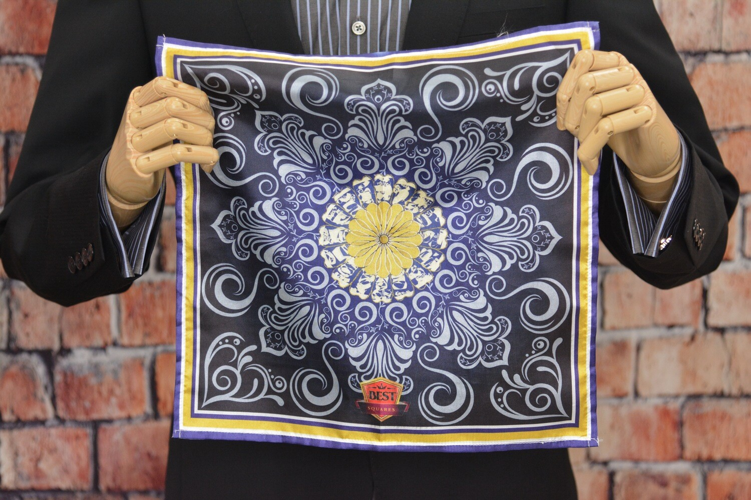 Premium Pocket Square - Purple Gold Curl