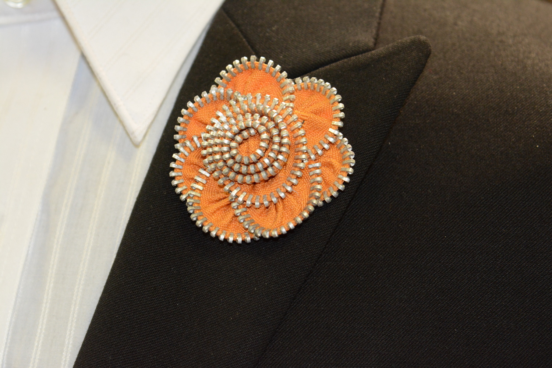 Lapel Flower - Custom Orange Zipper