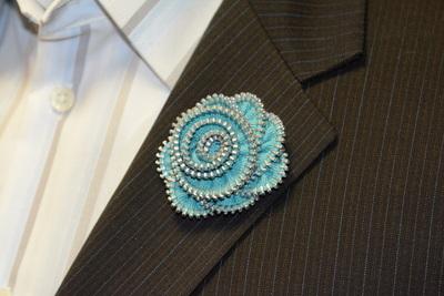 Lapel Flower - Custom Teal Zipper