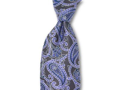 Necktie Set - Brown Purple Paisley