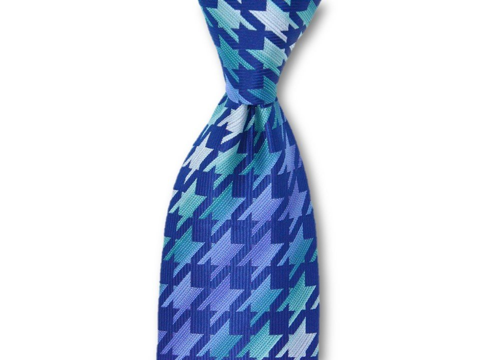 Necktie Set - Teal Gray Hounds Tooth