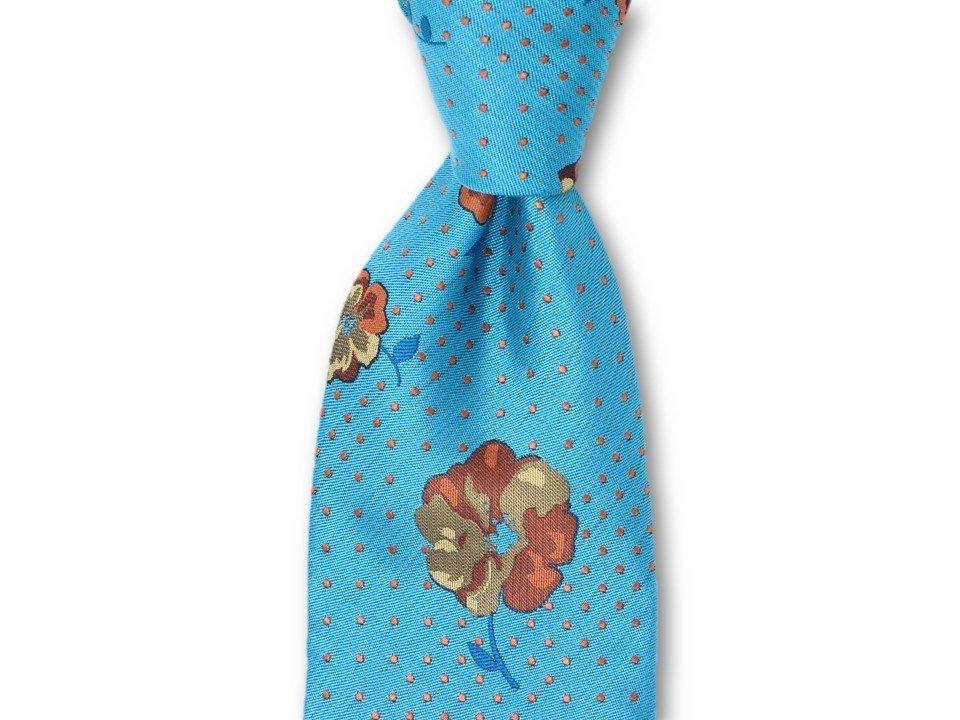 Necktie Set - Teal Blue Dotted Flower