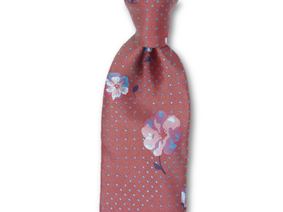 Necktie Set - Brushed Red Dotted Flower