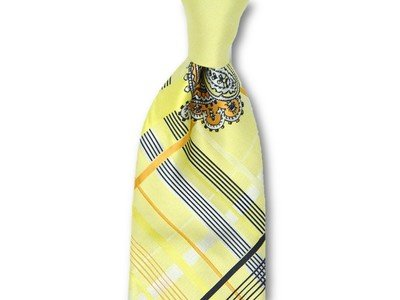 Necktie Set - Yellow Plaid Paisley