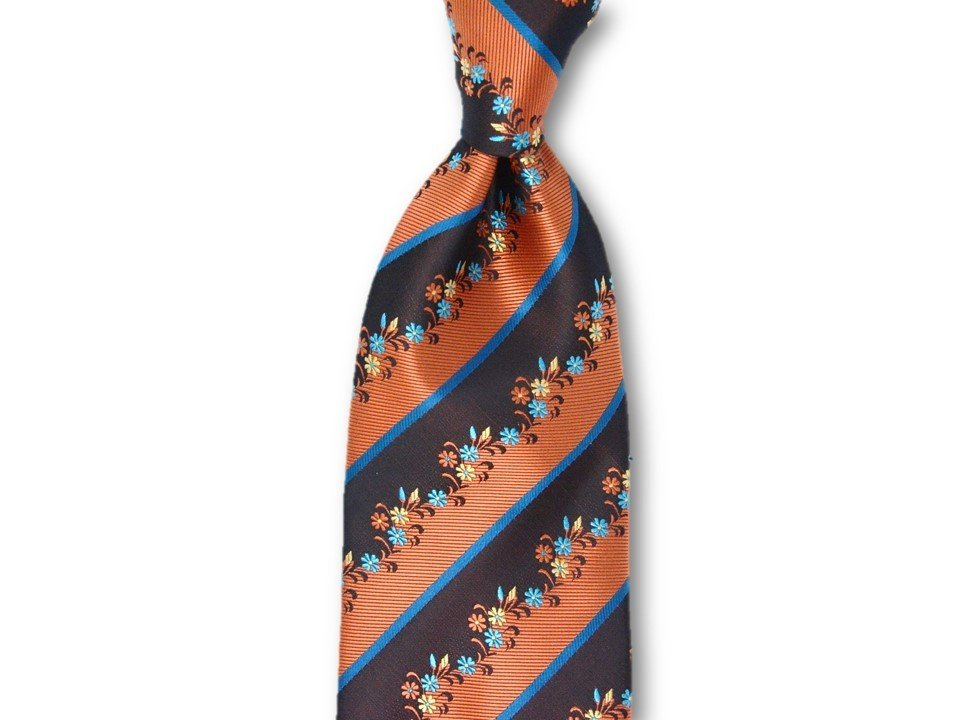 Necktie Set - Brown Copper Flower Hedges