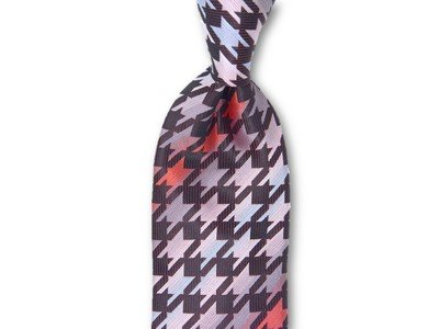 Necktie Set - Burgundy Red Hounds Tooth