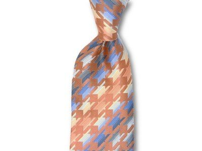 Necktie Set - Orange Cream Hounds Tooth