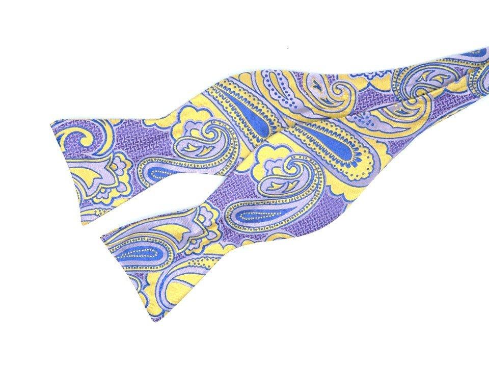 Bow Tie Set - Purple Gold Paisley