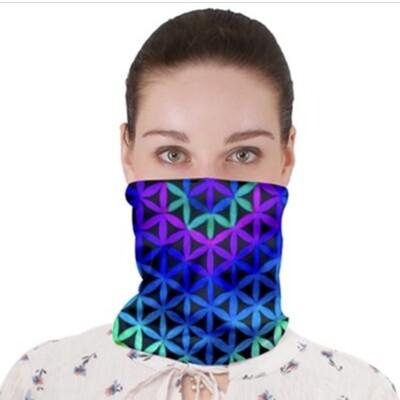 Aqua Blue Violet Flower_ Neck Band ~Face Cover ~ Gator