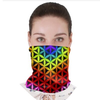 Root Rainbow Flower Neck Band ~Face Cover ~ Gator