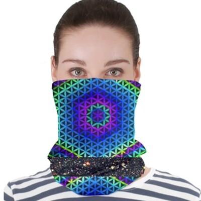 Aqua Flower Garden _ Neck Gator ~ Face Covering