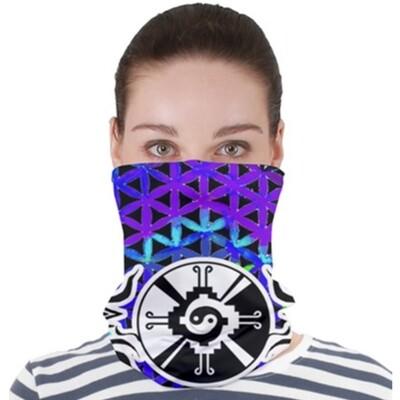 Purple Flower Star Gate _ Neck Gator ~ Face Covering