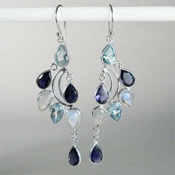 Blue Topaz and Iolite Earrings