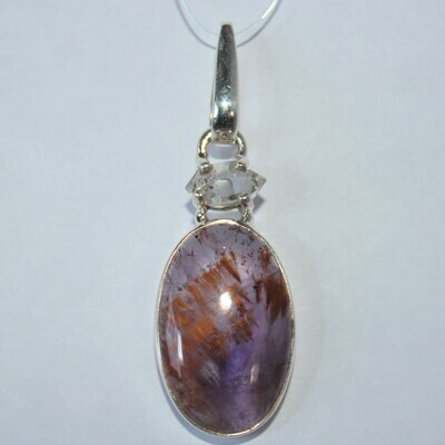 Cacoxenite/Super 7 and Herkimer Diamond Pendant