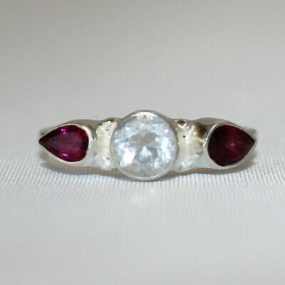 Clear Quartz and Garnet Ring