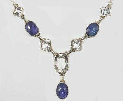 Clear Quartz and Tanzanite Necklace