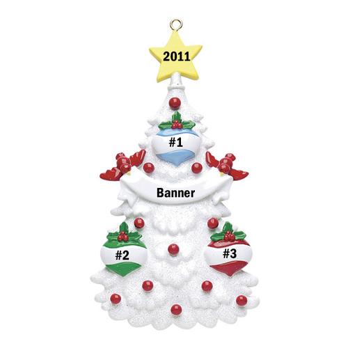 White Christmas Tree Family of 3