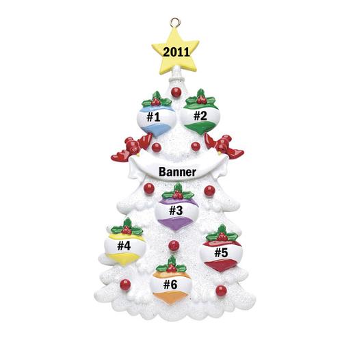 White Christmas Tree Family of 6