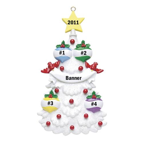 White Christmas Tree Family of 4