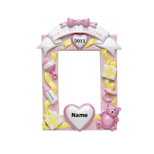 Pink Baby's 1st Christmas Photo Frame