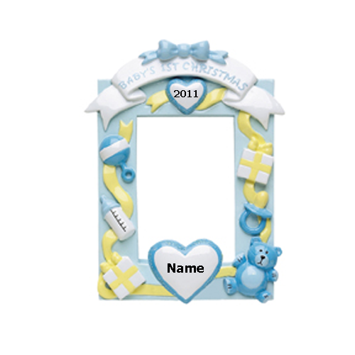 Blue Baby's 1st Christmas Photo Frame