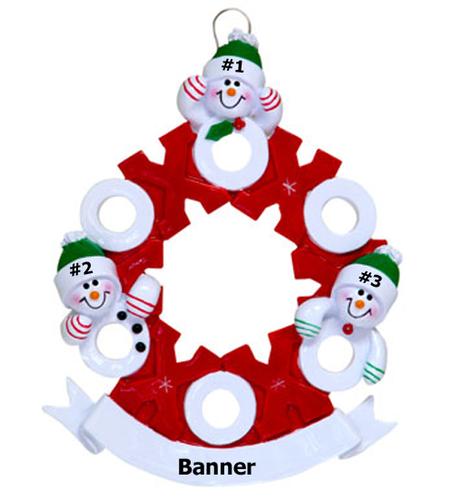 Snowman Wreath Family of 3