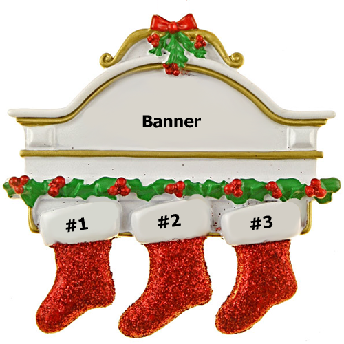 Glitter Stocking Family of 3