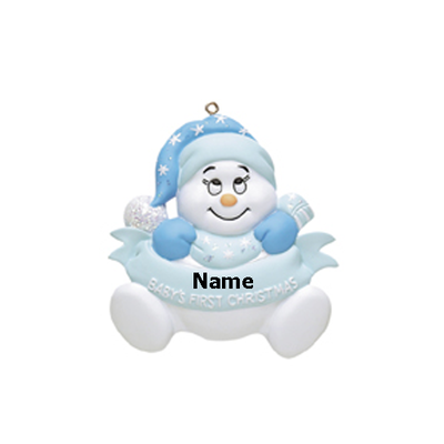 Blue 1st Christmas Snowman Baby