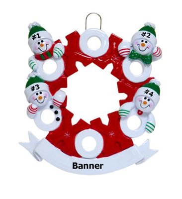 Snowman Wreath Family of 4