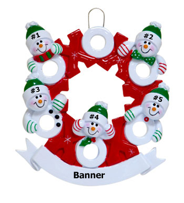 Snowman Wreath Family of 5
