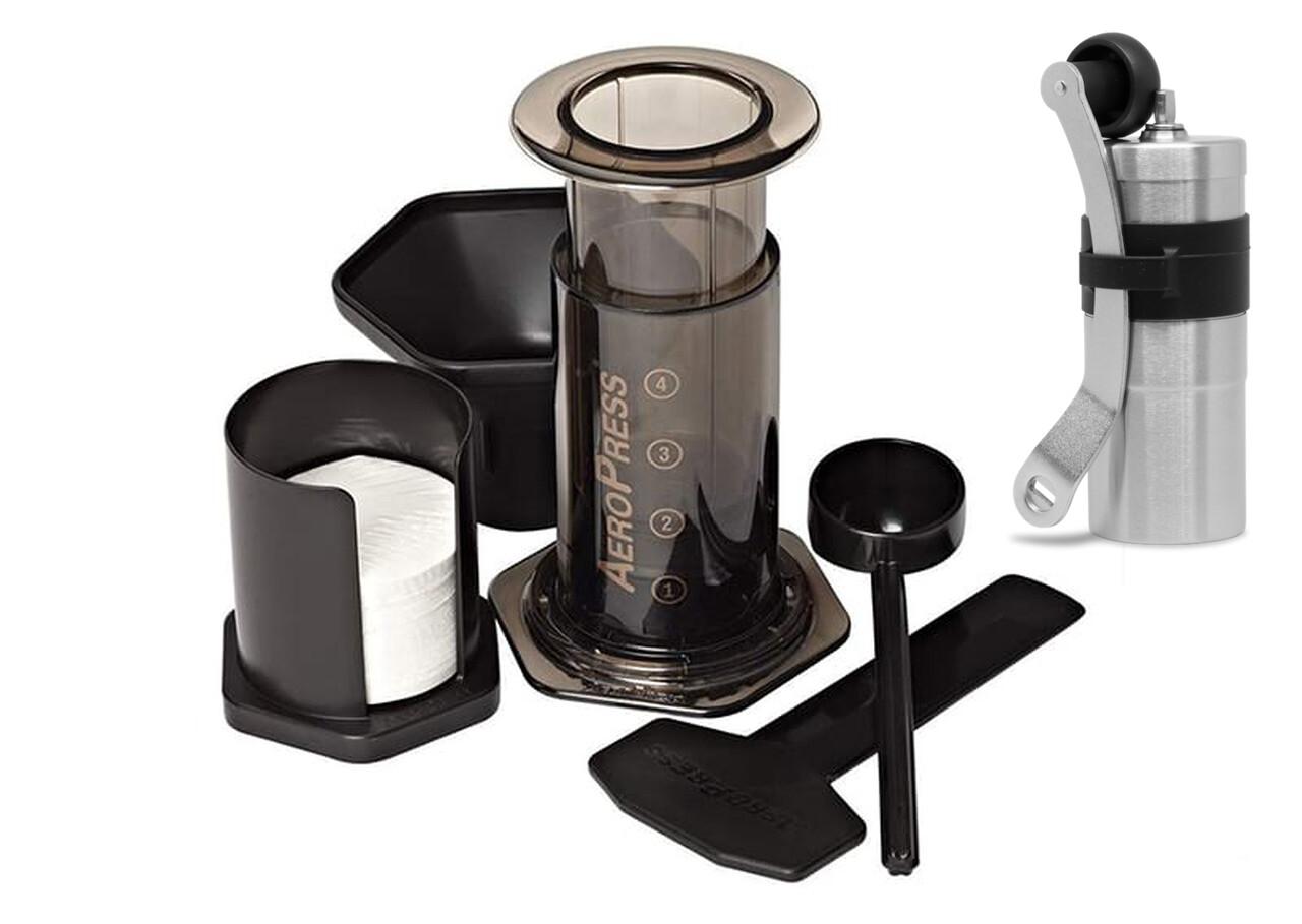 Aeropress Coffee Maker Inc 250g Bag of Coffee and Porlex Mini Grinder