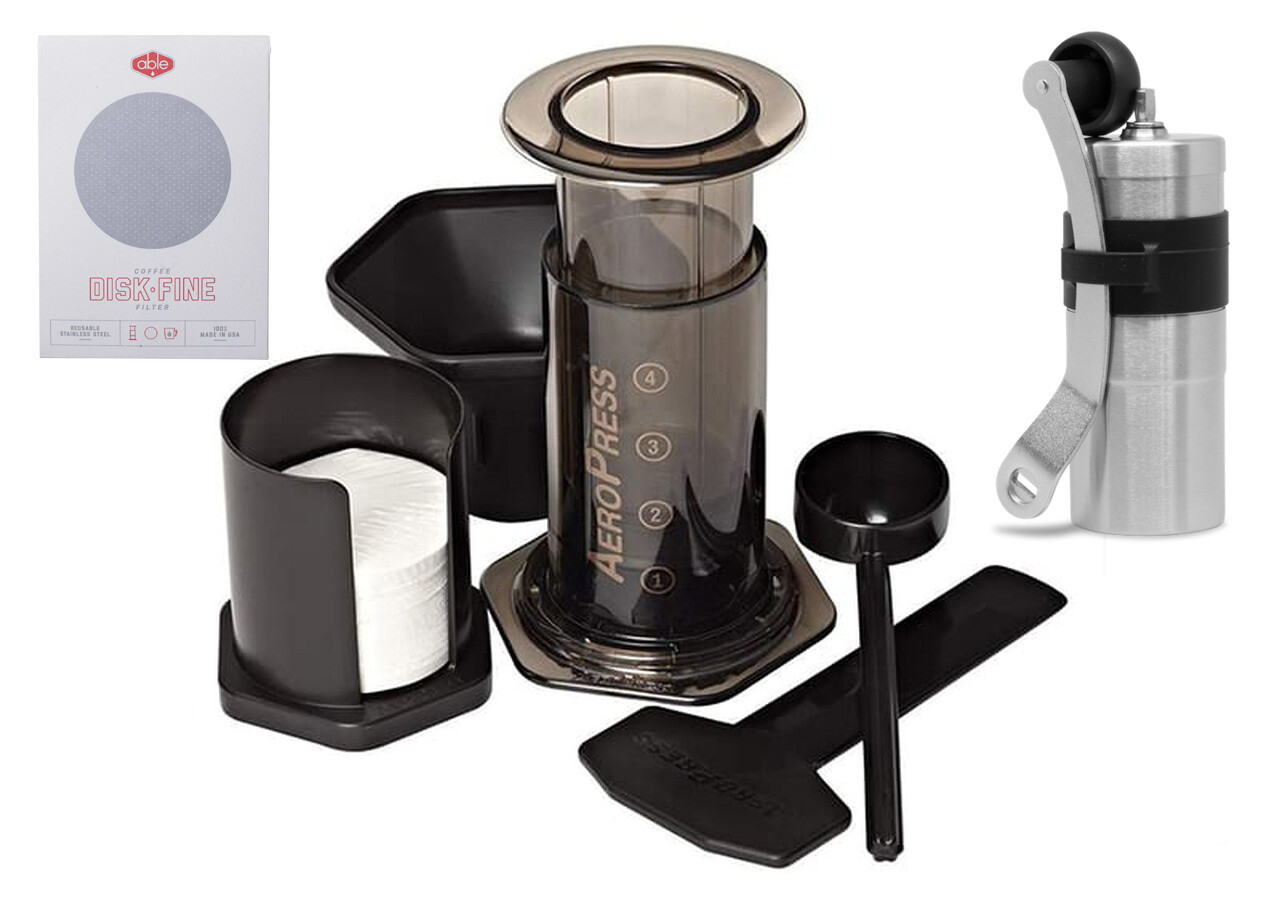Aeropress Coffee Maker Inc 250g Bag of Coffee  with Abel Disk Fine stainless steel filter and Porlex Mini Grinder