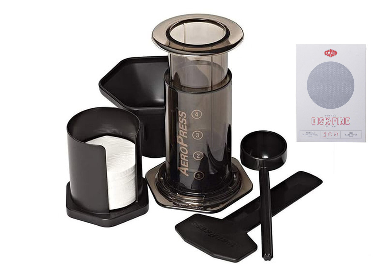 Aeropress Coffee Maker Inc 250g Bag of Coffee (State if ground required) with Abel Disk Fine stainless steel filter