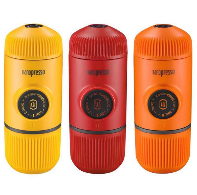 Wacaco Nanopresso colored portable espresso maker with soft case and  including 250g Inka Coffee Beans ground espresso.
