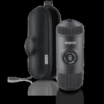 Wacaco BLACK Nanopresso portable espresso maker with hard case and  including 250g Inka Coffee Beans ground espresso.
