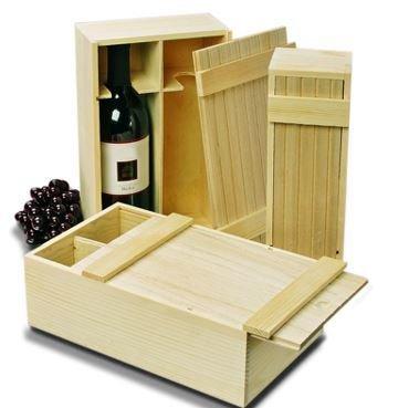 Slat Top Wood Bottle Box - Double Bottle (375ml)