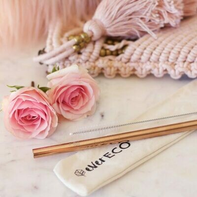 Rose Gold Metal Straw