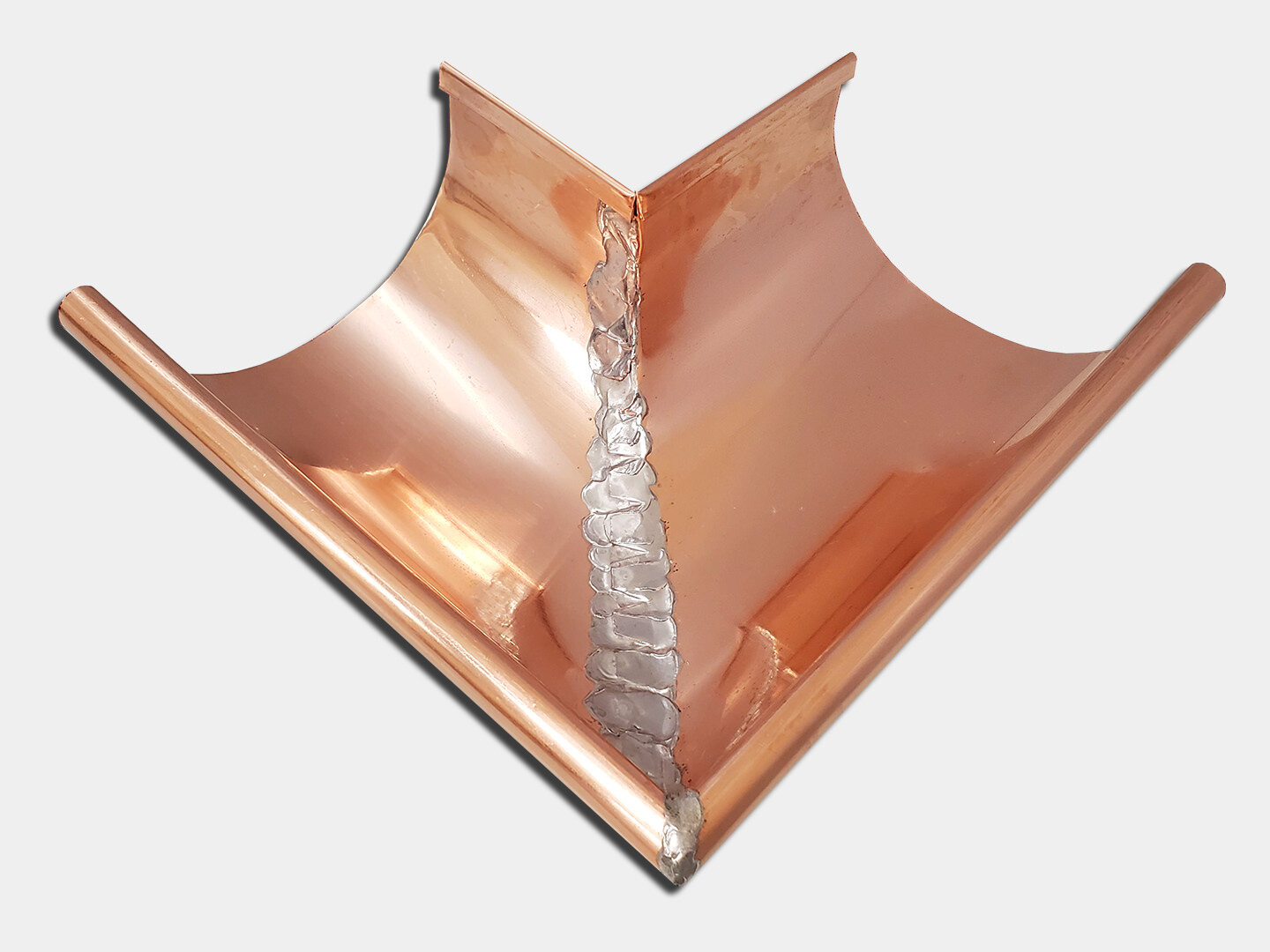 Copper Half Round Gutter Outside Miter