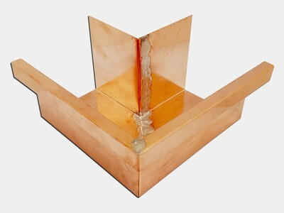 Copper Commercial Box Gutter Outside Miter
