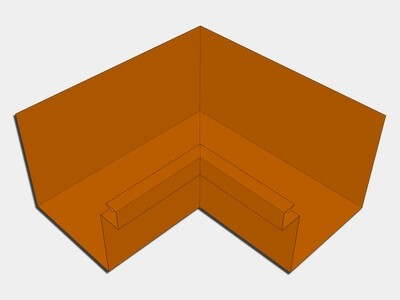 Copper Commercial Box Gutter Inside Miter