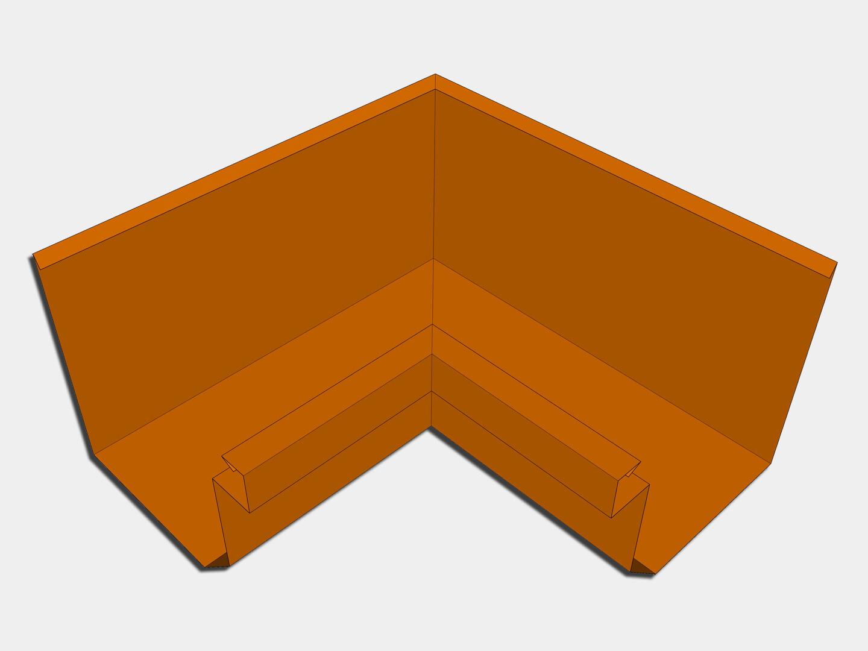 Copper Residential Box Gutter Inside Miter