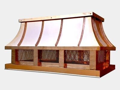 Concave Roof Chimney Cap / Shroud in Copper, Aluminum & Steel
